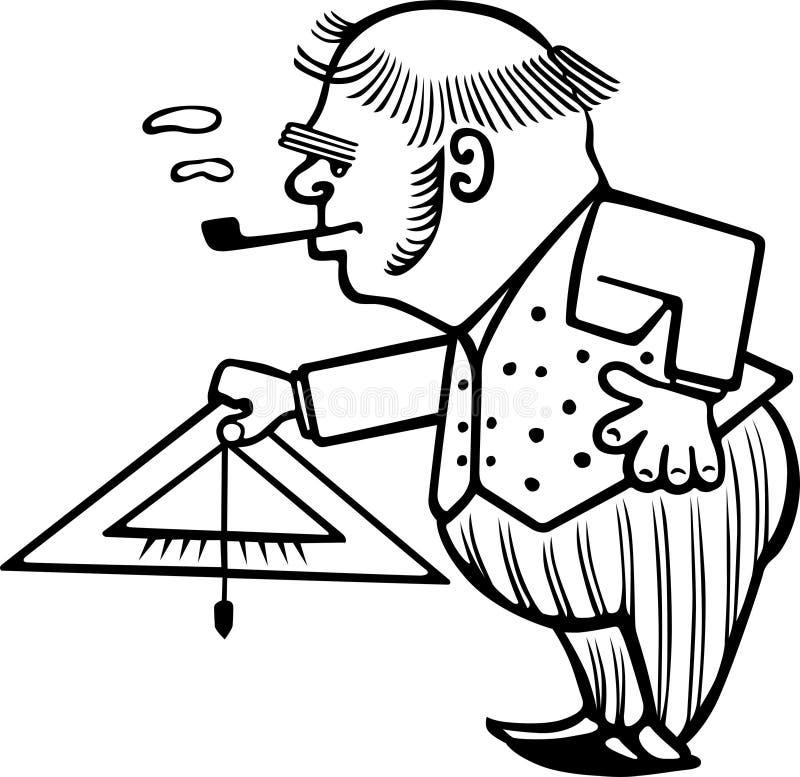 Scienziato anziano con il livello di misurazione illustrazione vettoriale