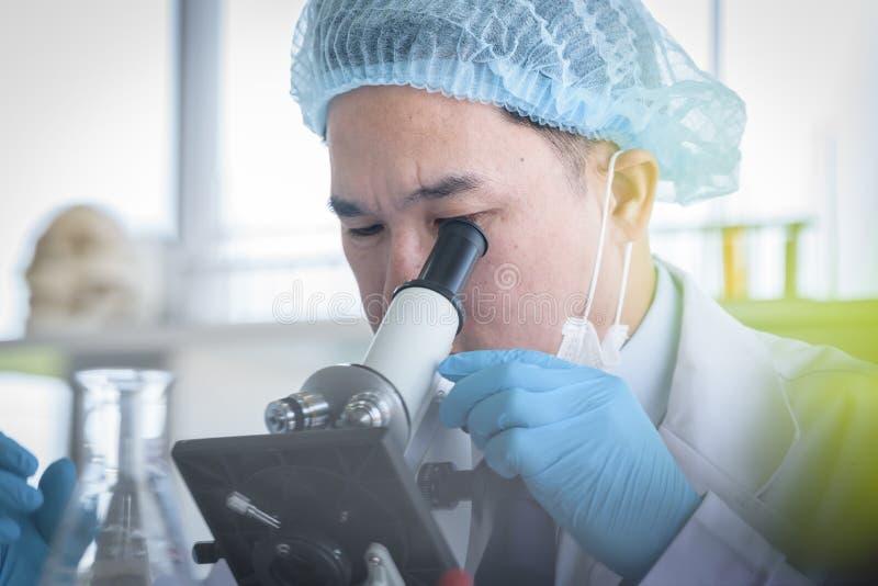 Scienziato asiatico dell'uomo che ricerca e che impara in un laboratorio immagini stock libere da diritti