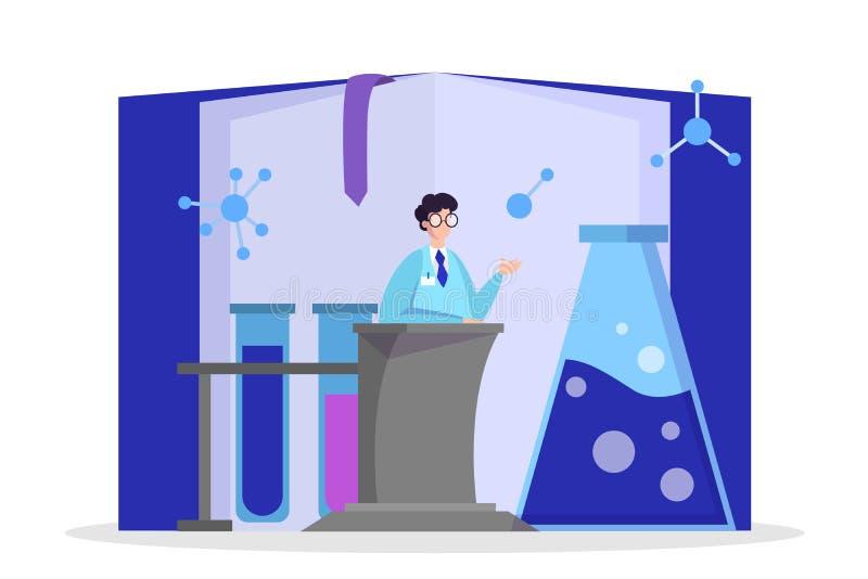 Scienziato che fa ricerca medica Vettore dell'attrezzatura di laboratorio illustrazione vettoriale