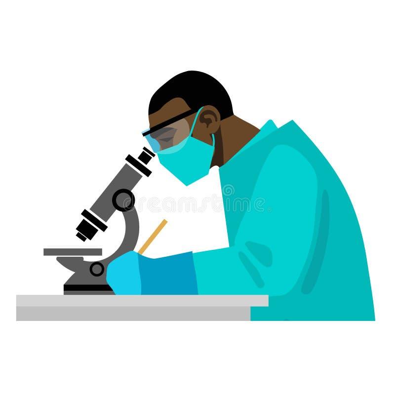 Scienziato che guarda tramite il microscopio in laboratorio medico Vettore illustrazione vettoriale