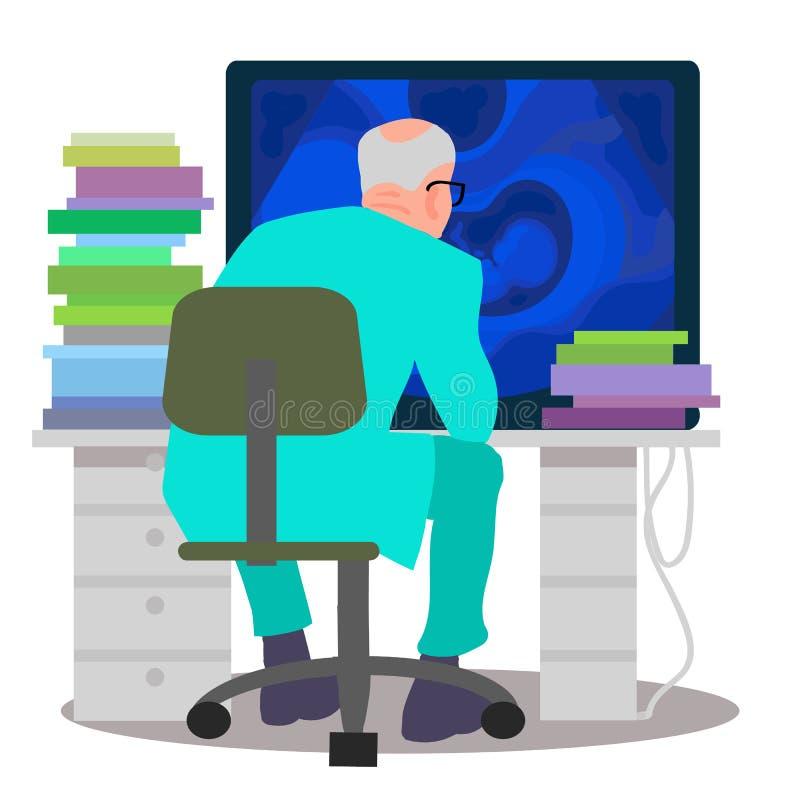 Scienziato che lavora al computer Medico che esamina monitor con l'immagine di ultrasuono royalty illustrazione gratis