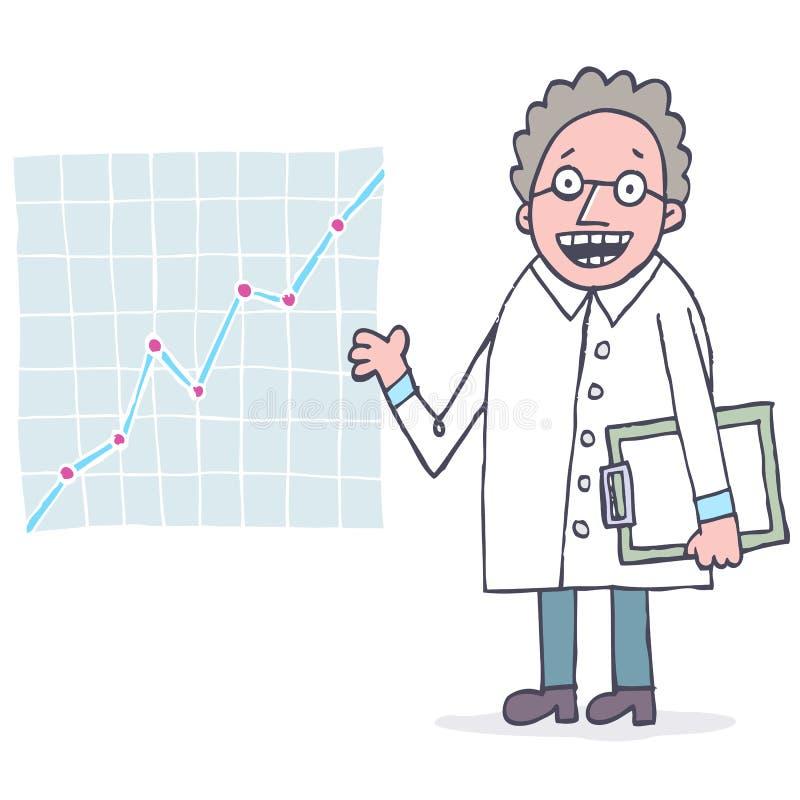 Scienziato con il diagramma illustrazione di stock