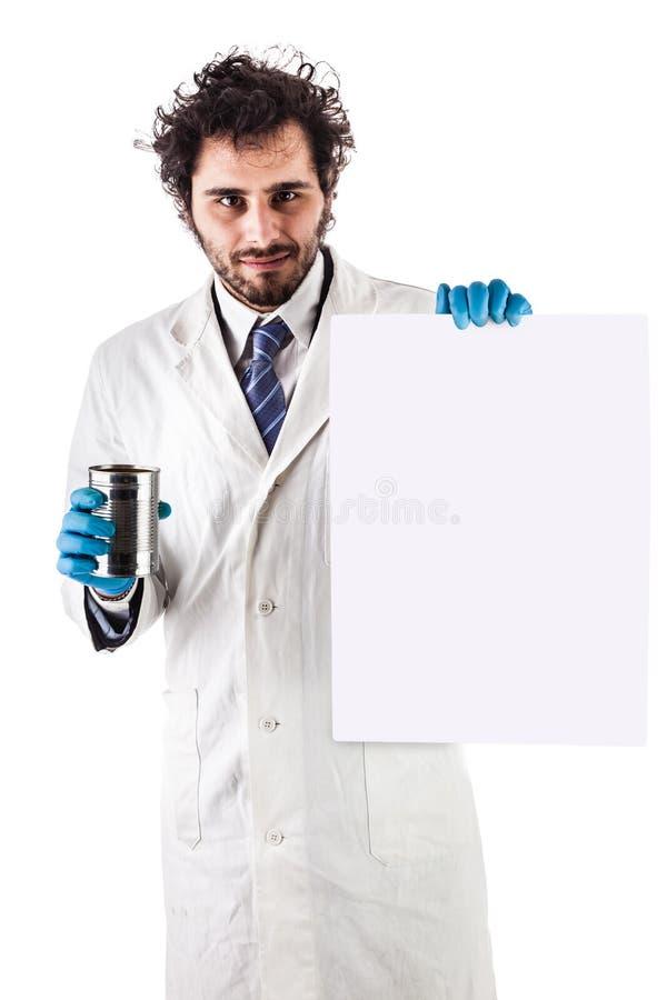 Scienziato con il segno vuoto fotografia stock