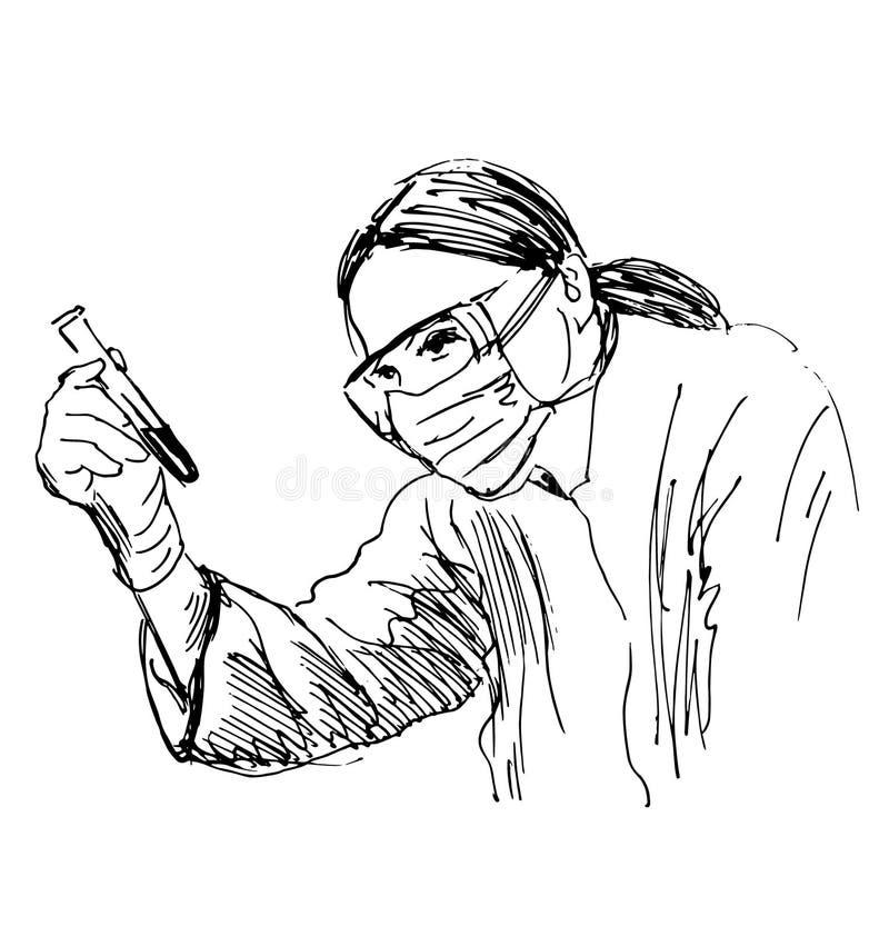 Scienziato di schizzo della mano illustrazione di stock