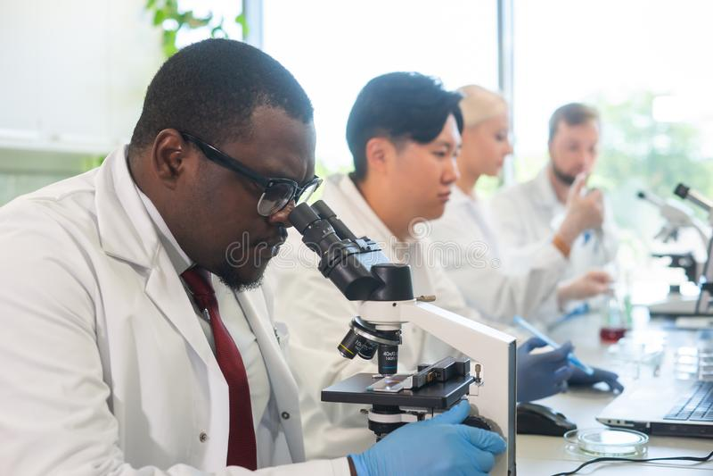 Scienziato e studenti che lavorano nel laboratorio Aggiusti gli interni d'istruzione per fare analizzare la ricerca Biotecnologia immagini stock libere da diritti