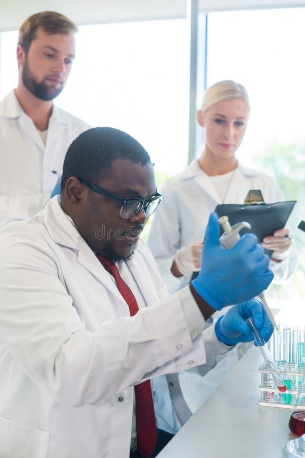 Scienziato e studenti che lavorano nel laboratorio Aggiusti gli interni d'istruzione per fare il sangue che analizza la ricerca b fotografia stock