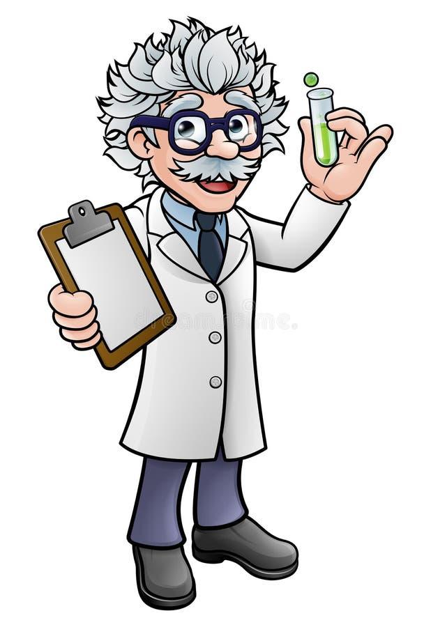 Scienziato Holding Test Tube del fumetto e lavagna per appunti illustrazione di stock