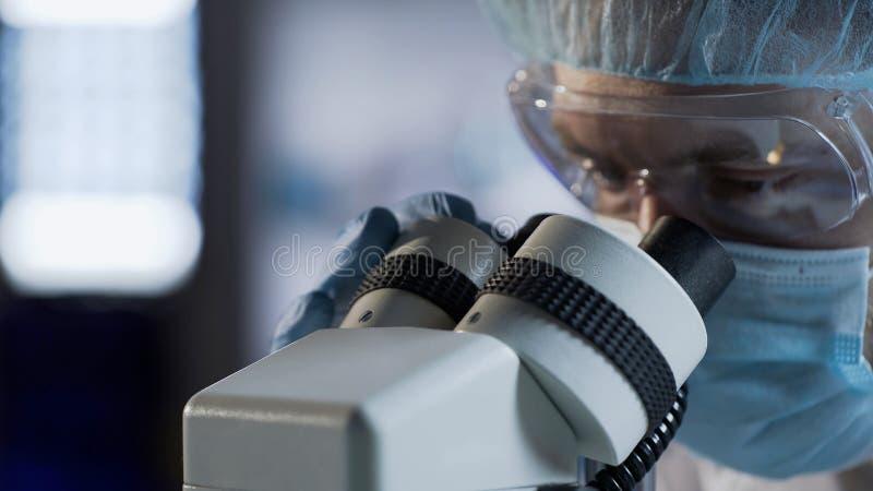 Scienziato maschio nella maschera di protezione che esamina materiale biologico, prova di conduzione del DNA immagini stock libere da diritti