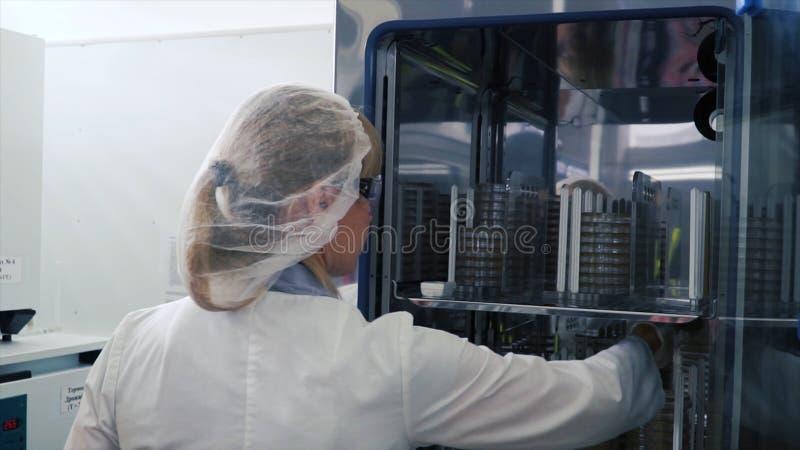Scienziato medico Works di ricerca in virologia con la maschera clip Dello scienziato di Takes provette fuori dal frigorifero Lav fotografie stock