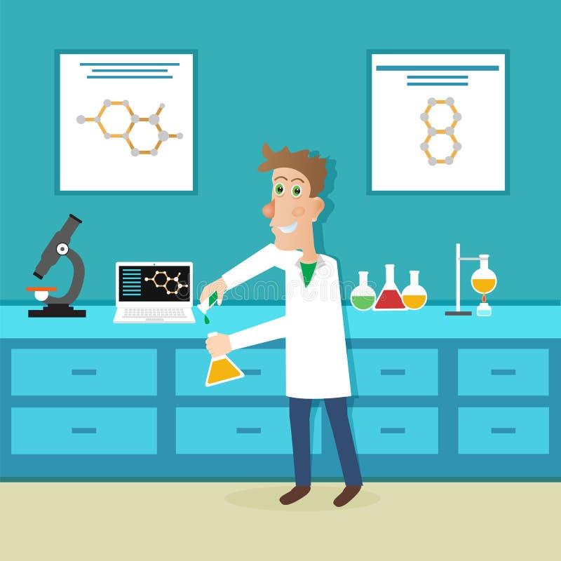 Scienziato nell'istruzione di scienza Illustrazione di vettore illustrazione di stock