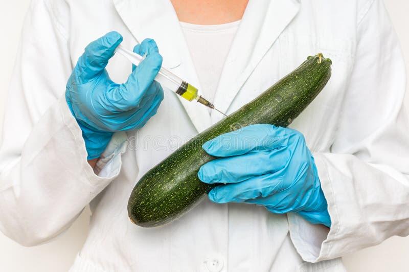 Scienziato OMG che inietta liquido dalla siringa nello zucchini immagini stock libere da diritti