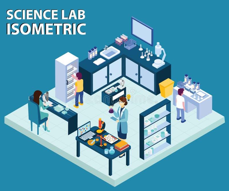 Scienziato Working in un materiale illustrativo isometrico del laboratorio di scienza illustrazione vettoriale