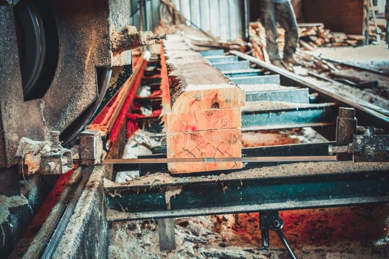 scierie Le processus de l'usinage ouvre une session des scies de machine de scierie le tronc d'arbre photographie stock libre de droits