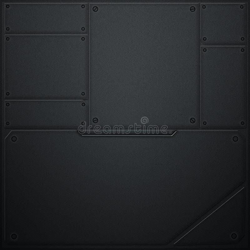 Scifi ściana metalu ścienny i czarny węgla włókno Metalu tło royalty ilustracja