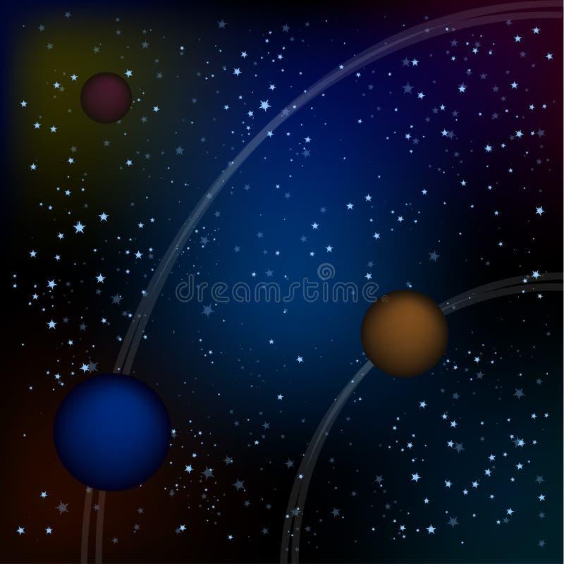 Scifi Astronautyczny tło Dla Ui Gemowej ilustraci piękny komiczny gwiaździsty przestrzeń krajobraz z obcymi księżyc, asteroidy ilustracji