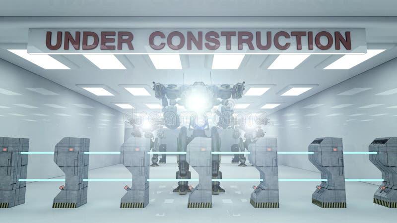 SCIFI in costruzione e robot illustrazione di stock