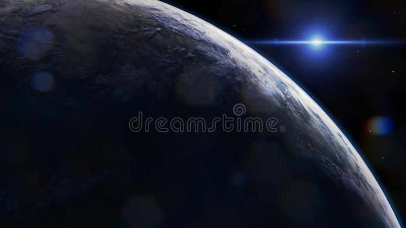 Scifi earth inspired planet, supernova royalty free stock images