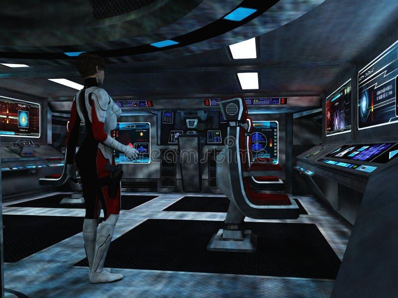 Scifi female trooper in command and control centre stock for Futuristic control room