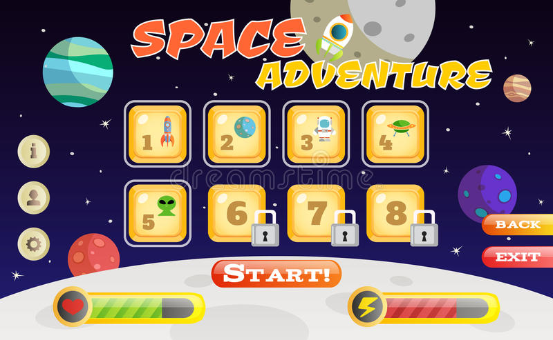Scifi game interface. Scifi space adventure game user interface template vector illustration stock illustration