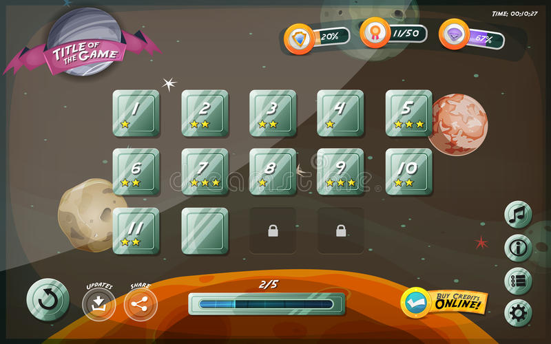 Scifi Game User Interface Design For Tablet. Illustration of a funny space cosmic graphic game user interface background, in cartoon style with basic buttons and stock illustration