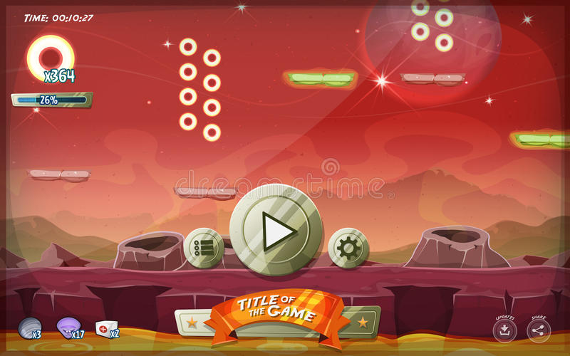 Scifi Platform Game User Interface For Tablet. Illustration of a funny graphic platform game user interface design, in cartoon style with basic buttons and icons royalty free illustration