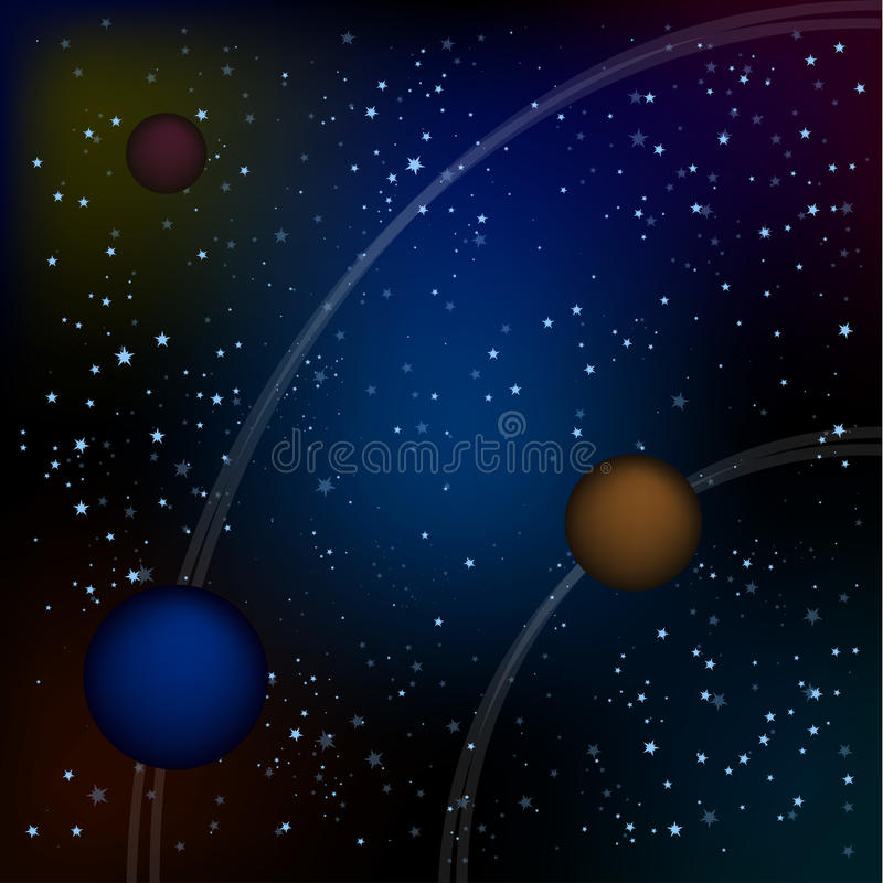 Scifi Space Background For Ui Game Illustration of a beautiful comic starry space landscape with alien moons, asteroids royalty free stock images