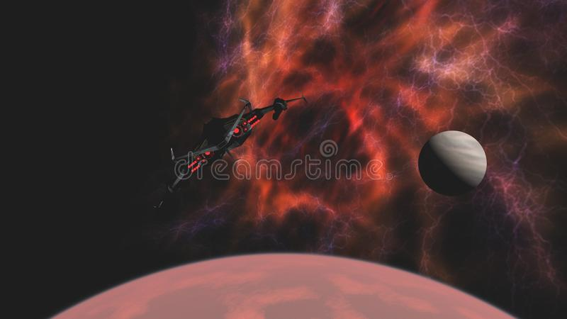 Scifi star fighter craft leaving for deep space. Science fiction attack spacecraft leaving red alien planet for deep space vector illustration