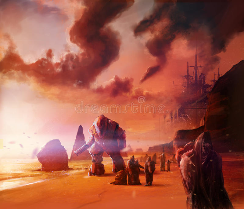 Scifi warriors. Walking on a ocean evening shore with robots and people illustration background vector illustration