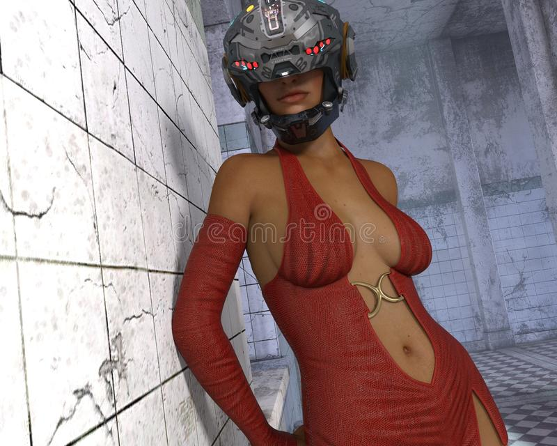 SciFi Woman, 3D CG royalty free stock photography