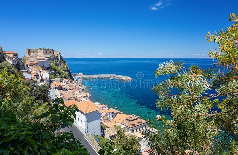 Scilla a town in Calabria, Italy, part of the Metropolitan City of Reggio Calabria. It is the traditional site of the sea monster royalty free stock photo