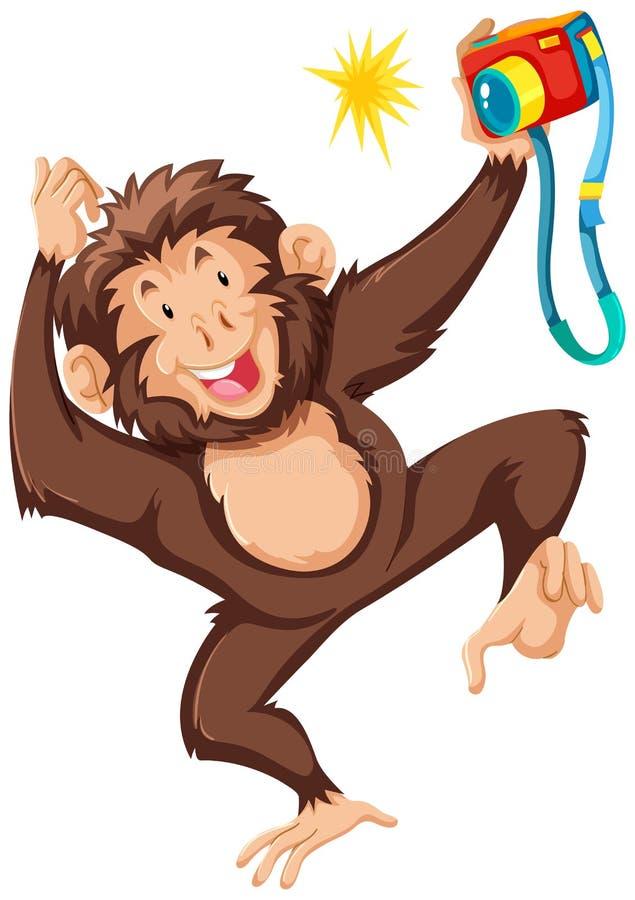 Scimmia che prende immagine con la macchina fotografica royalty illustrazione gratis
