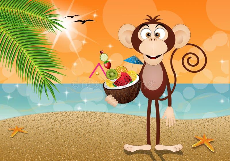 Scimmia con i frutti della noce di cocco illustrazione vettoriale
