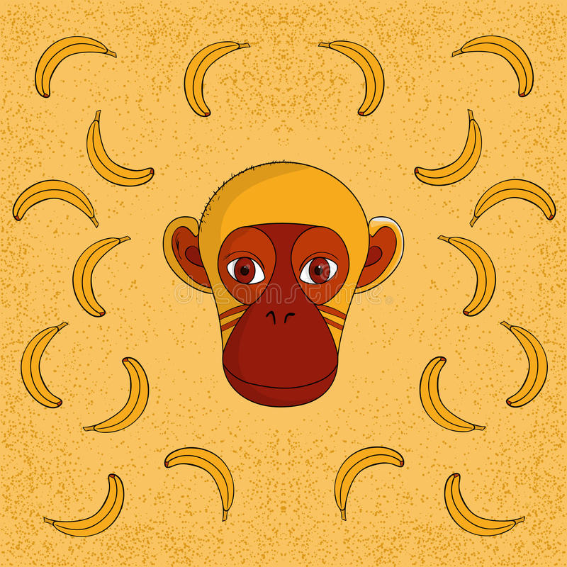 Scimmia con le banane fotografie stock