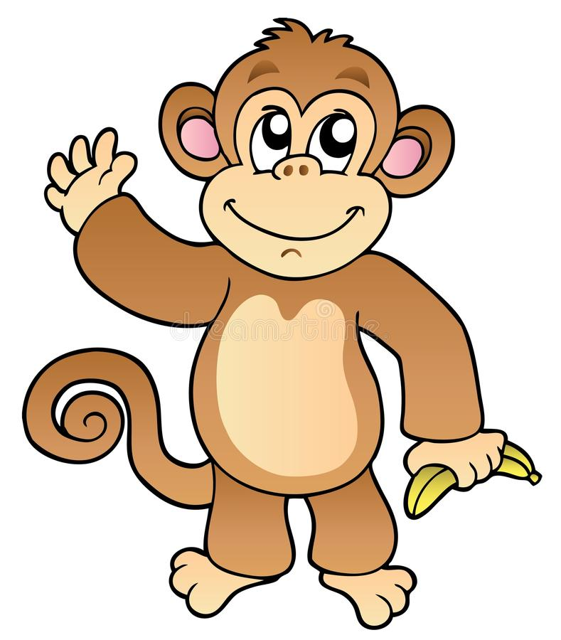 Scimmia d'ondeggiamento del fumetto con la banana illustrazione di stock