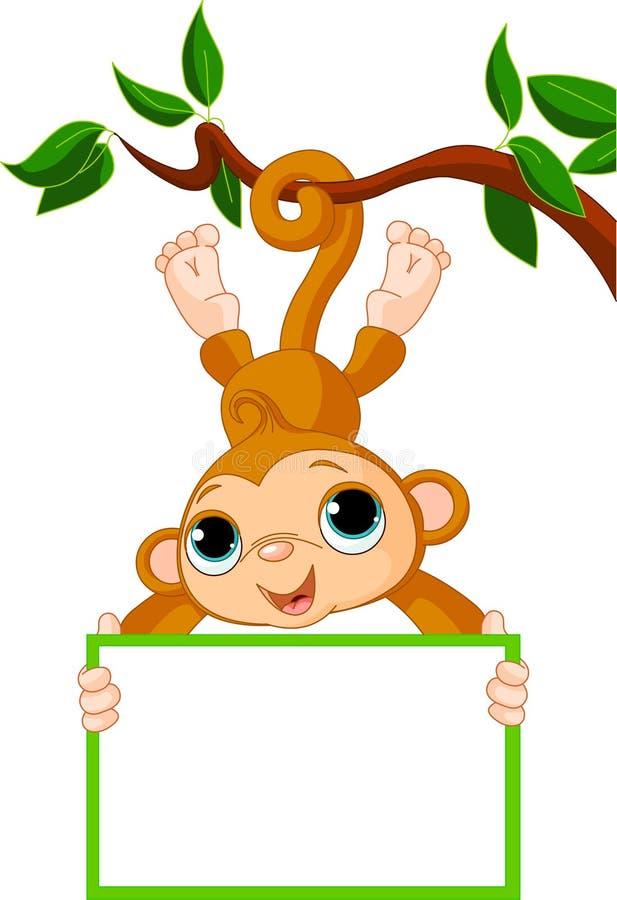 Scimmia del bambino su un albero che tiene segno in bianco royalty illustrazione gratis