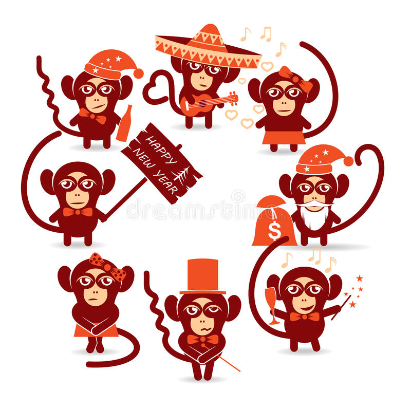 Scimmia del buon anno illustrazione di stock