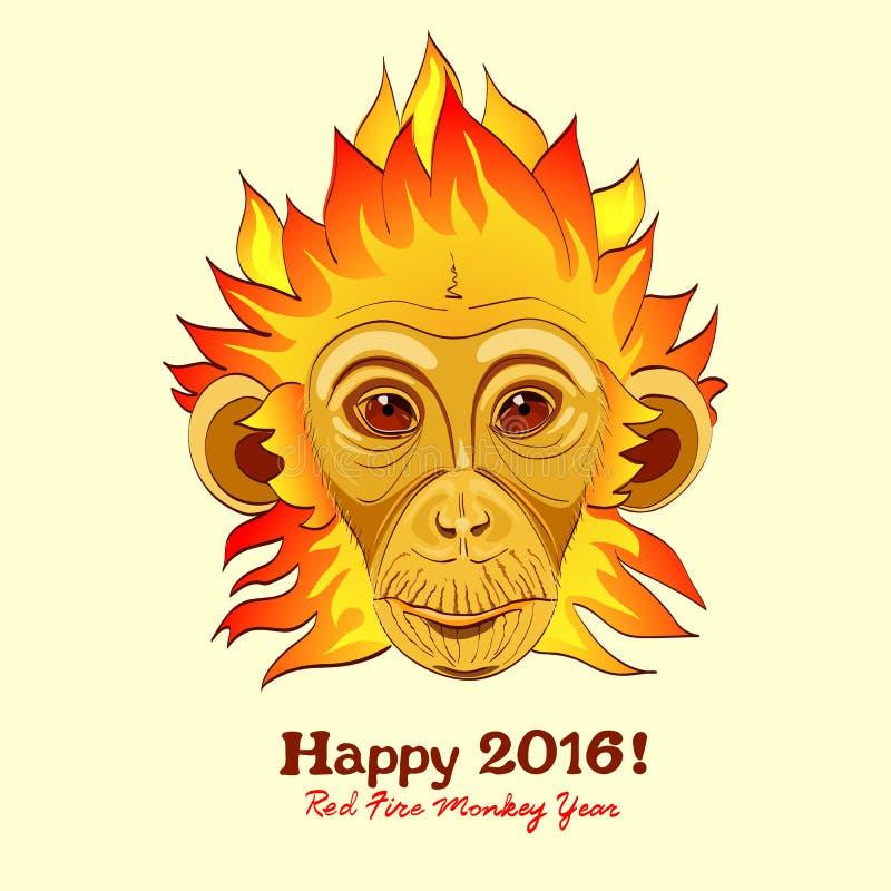 Scimmia del fuoco della testarossa come nuovo simbolo di 2016 anni illustrazione di stock