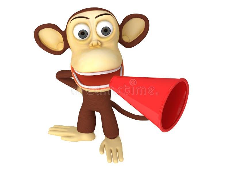 scimmia divertente 3d con l'altoparlante rosso enorme illustrazione di stock