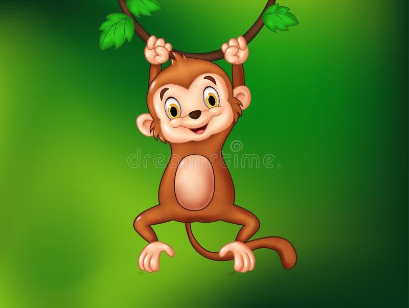 Scimmia divertente del fumetto che appende su una vite illustrazione vettoriale