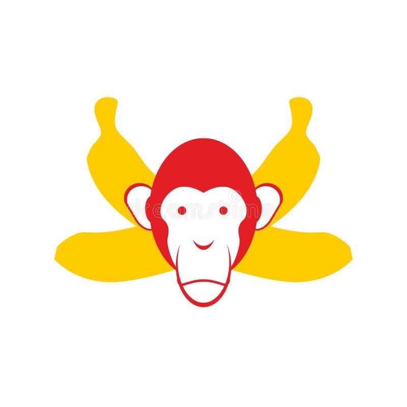 Scimmia e banane Banane cape ed attraversate dello scimpanzè royalty illustrazione gratis