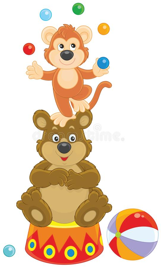 Scimmia ed orso del circo illustrazione vettoriale