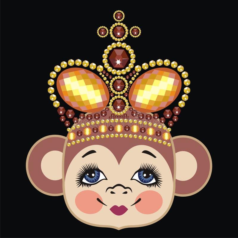 Scimmia nella corona, regina della scimmia Scimmia capa del modello Zodiaco cinese: una scimmia da 2016 anni Progettazione di Nat illustrazione di stock