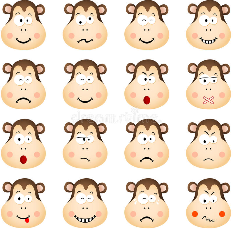 Scimmia sveglia con differenti espressioni illustrazione vettoriale