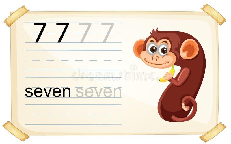 Scimmia sveglia numero sette royalty illustrazione gratis