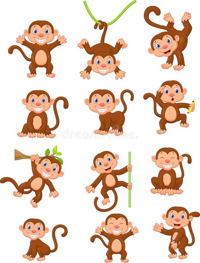 Scimmie sveglie in varia espressione illustrazione vettoriale