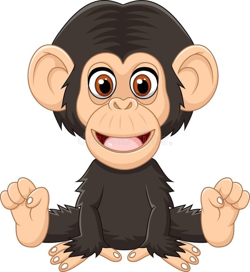 Scimpanzè divertente del bambino del fumetto che si siede sul fondo bianco illustrazione vettoriale