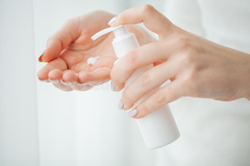 Scin care. Beautiful woman hands with cream.  stock image