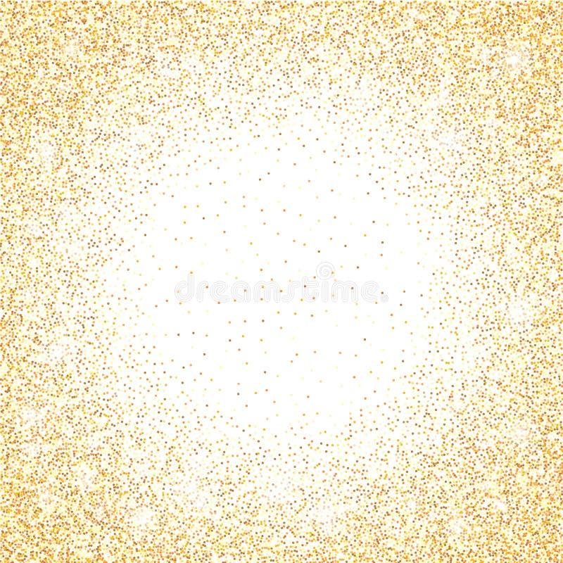 Scintilla dorata di scintillio su un fondo trasparente Fondo vibrante dell'oro con le luci di scintillio Illustrazione di vettore royalty illustrazione gratis