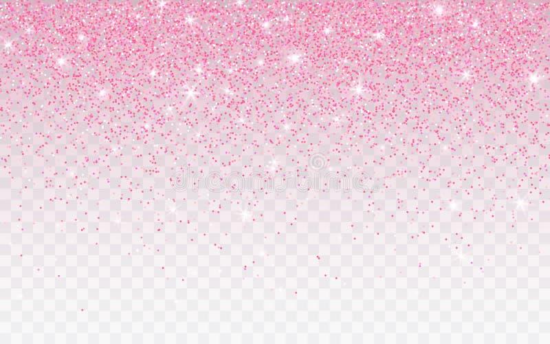 Scintilla rosa di scintillio su un fondo trasparente Fondo di Rose Gold Vibrant con le luci di scintillio Illustrazione di vettor illustrazione di stock