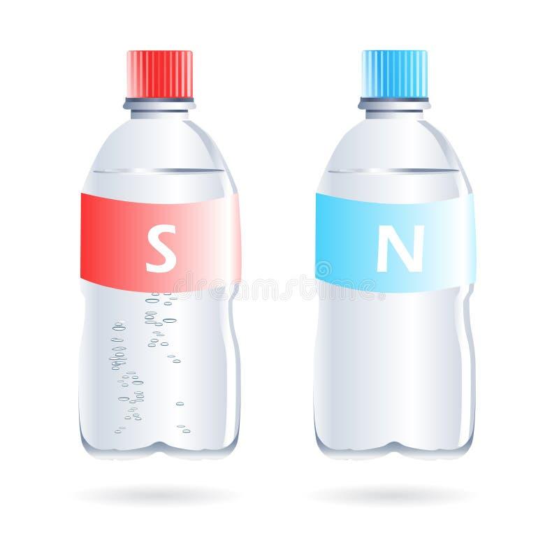 Scintillare ed ancora bottiglie di acqua illustrazione di stock